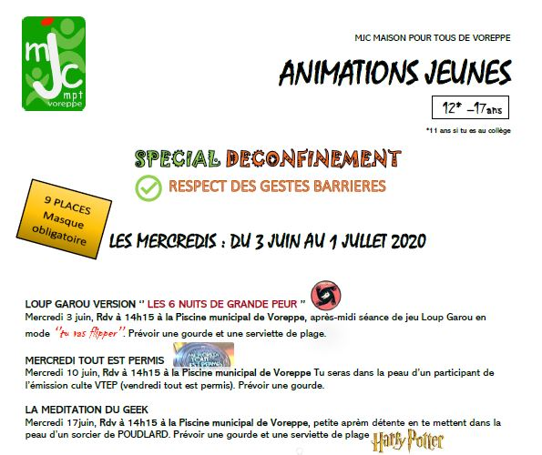 Animations Jeunesses – Le programme des mercredis (du 03/06 au 01/07)
